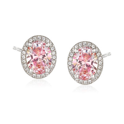 2.50 ct. t.w. Swarovski Morganite CZ and .30 ct. t.w. Swarovski CZ Earrings in Sterling Silver, , default