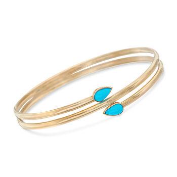 "Sleeping Beauty Turquoise Bangle Bracelet in 14kt Yellow Gold. 7"", , default"