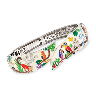 "Belle Etoile ""Tropical Rainforest"" Ivory and Multicolored Enamel Bangle Bracelet with .15 ct. t.w. CZs in Sterling Silver, , default"