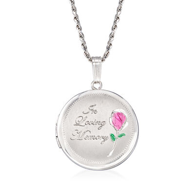 """In Loving Memory"" Rose Memorial and Photo Locket Pendant Necklace in Sterling Silver, , default"