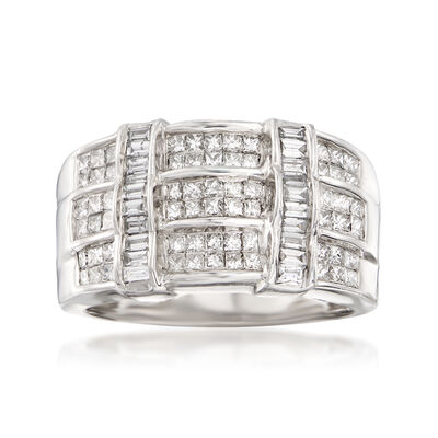 1.00 ct. t.w. Princess and Baguette Diamond Ring in 14kt White Gold