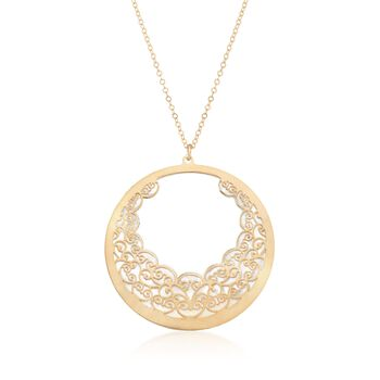 "Italian Carved Mother-Of-Pearl Filigree Necklace in 14kt Yellow Gold. 18"", , default"