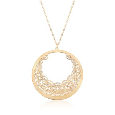 Italian Carved Mother-Of-Pearl Filigree Necklace in 14kt Yellow Gold, , default