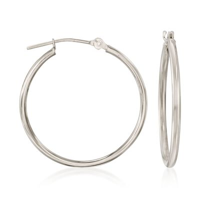 1.5mm 14kt White Gold Hoop Earrings, , default