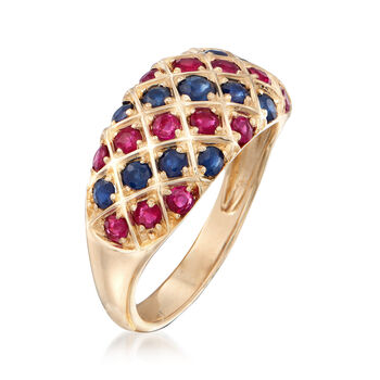 .80 ct. t.w. Ruby and .70 ct. t.w. Sapphire Dome Ring in 14kt Yellow Gold