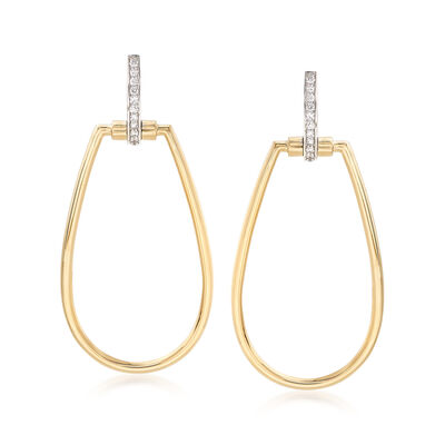 "Roberto Coin ""Parisienne"" .20 ct. t.w. Diamond Open Oval Drop Earrings in 18kt Two-Tone Gold"