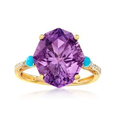 6.00 Carat Amethyst and Turquoise Ring with Diamond Accents in 14kt Yellow Gold