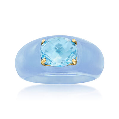 3.20 Carat Sky Blue Topaz and Blue Jade Ring with 14kt Yellow Gold, , default