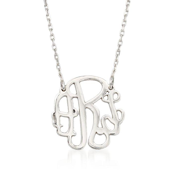 Sterling Silver Petite Monogram Necklace, , default