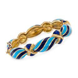 "C. 1950 Vintage Martine Tonal Blue and Green Enamel Bangle Bracelet in 18kt Yellow Gold. 7"", , default"