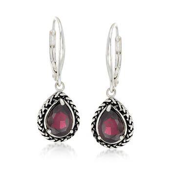 2.50 ct. t.w. Garnet Woven Drop Earrings in Sterling Silver, , default