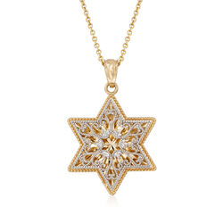 14kt Two-Tone Gold Star of David Pendant Necklace, , default