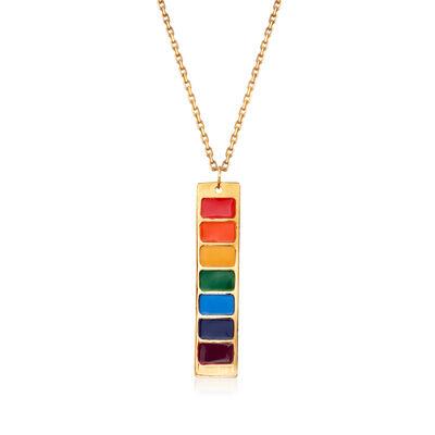 Italian Rainbow Enamel Bar Necklace in 14kt Yellow Gold