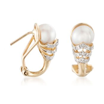 6.5-7mm Cultured Pearl Earrings with Diamond Accents in 14kt Yellow Gold