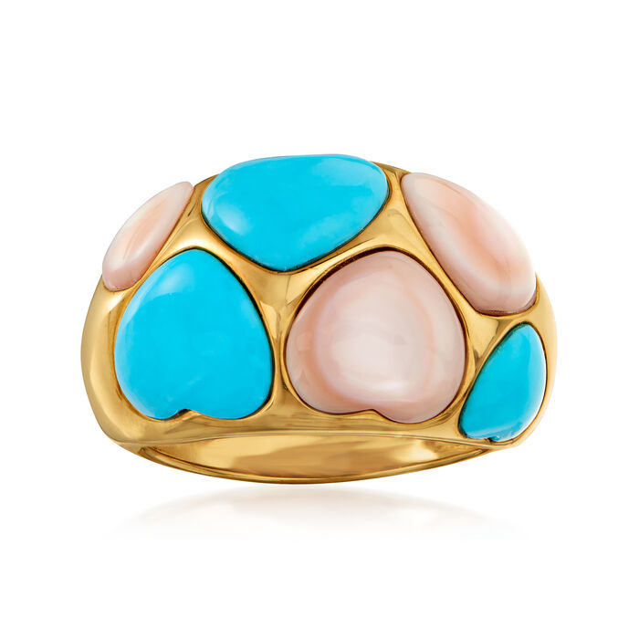 C. 1990 Vintage Mother-Of-Pearl and Turquoise Heart Ring in 14kt Yellow Gold. Size 7, , default