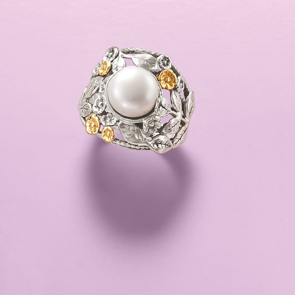 10mm Cultured Button Pearl Floral Ring in Sterling Silver and 14kt ...