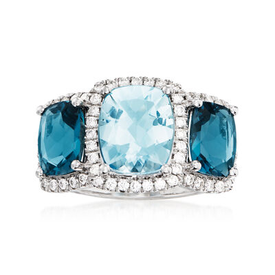 2.90 ct. t.w. London Blue Topaz, 2.00 Carat Aquamarine and .44 ct. t.w. Diamond Ring in 14kt White Gold