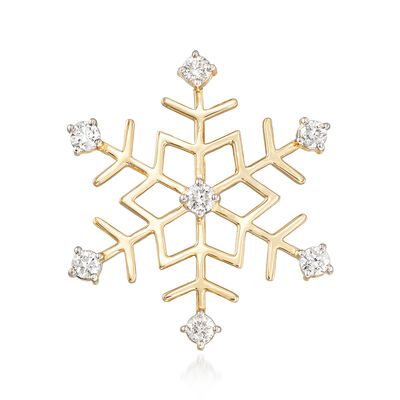 1.00 ct. t.w. Diamond Snowflake Pin in 14kt Yellow Gold, , default