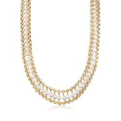 "Italian 5-6.5mm Cultured Pearl Necklace in 18kt Gold Over Sterling. 18"", , default"