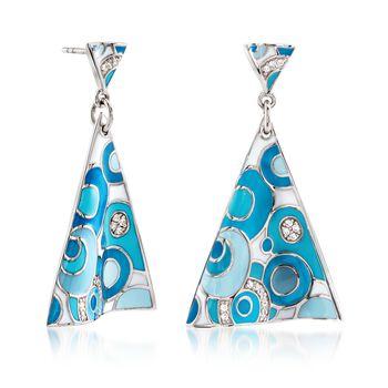 """Belle Etoile """"Groovy"""" .25 ct. t.w. CZ and Aqua Enamel Drop Earrings in Sterling Silver, , default"""