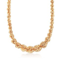 "18kt Yellow Gold Graduated Spiral Link Necklace. 18"", , default"