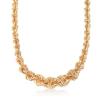 """18kt Yellow Gold Graduated Spiral Link Necklace. 18"""", , default"""
