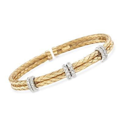 .50 ct. t.w. Diamond Basketweave Cuff Bracelet in 14kt Gold Over Sterling, , default