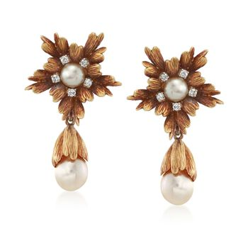 C. 1970 Vintage 10-12mm Cultured Pearl and .25 ct. t.w. Diamond Floral Drop Earrings in 18kt Yellow Gold, , default
