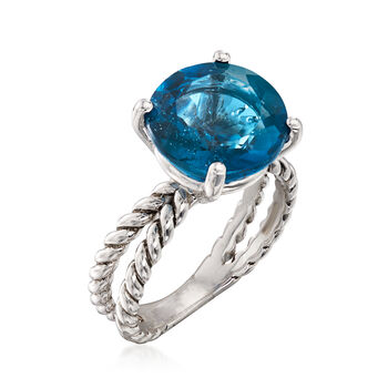 6.75 Carat London Blue Topaz Ring in Sterling Silver, , default