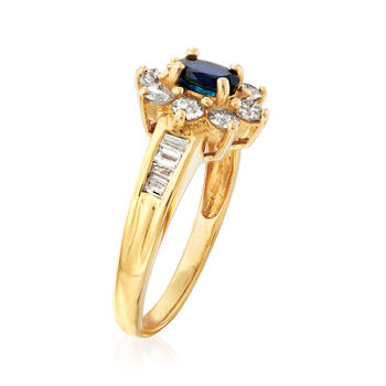 C. 1980 Vintage .95 ct. t.w. Diamond and .60 Carat Sapphire Ring in 18kt Yellow Gold. Size 7.75