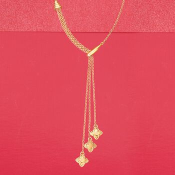 Italian 18kt Yellow Gold Star Lariat-Style Necklace, , default