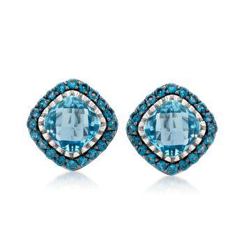 8.60 ct. t.w. Blue Topaz Stud Earrings in Sterling Silver, , default