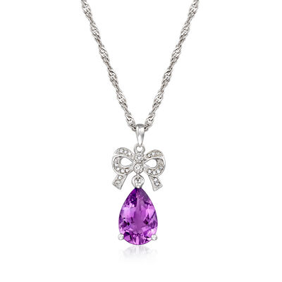 5.00 Carat Amethyst and .10 ct. t.w. Diamond Bow Pendant Necklace in Sterling Silver