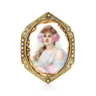 C. 1950 Vintage Hand-Painted Porcelain Pin with Seed Pearls in 14kt Yellow Gold