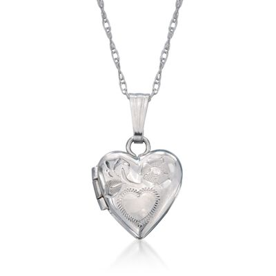 Baby's 14kt White Gold Heart Locket Necklace, , default
