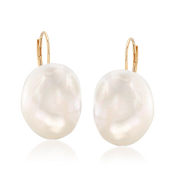 13-14mm Cultured Baroque Pearl Drop Earrings in 14kt Yellow Gold, , default
