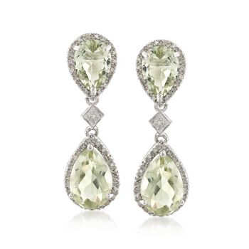 9.45 ct. t.w. Green Amethyst and .10 ct. t.w. Diamond Drop Earrings in Sterling Silver, , default