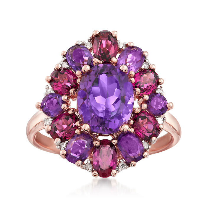 4.60 ct. t.w. Amethyst and Rhodolite Garnet Ring with Diamond Accents in 14kt Rose Gold, , default