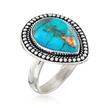 Pear Turquoise Cabochon Ring in Sterling Silver, , default