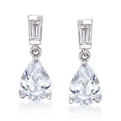2.50 ct. t.w. Baguette and Pear-Shaped CZ Drop Earrings in Sterling Silver, , default