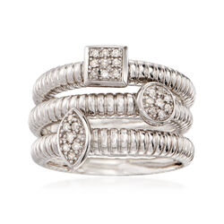 .12 ct. t.w. Diamond Jewelry Set: Three Stacking Rings in Sterling Silver, , default