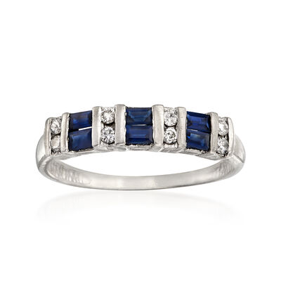 C. 1980 Vintage .50 ct. t.w. Sapphire and .16 ct. t.w. Diamond Ring in Platinum, , default