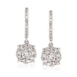 1.00 ct. t.w. Diamond Hoop Drop Earrings in 14kt White Gold, , default
