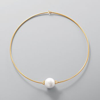 "16-16.5mm Cultured Pearl and .12 ct. t.w. Diamond Choker Necklace in 14kt Yellow Gold. 16"", , default"