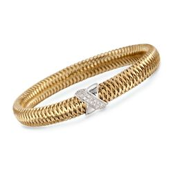"Roberto Coin ""Primavera"" .18 ct. t.w. Diamond Bangle Bracelet in 18kt Two-Tone Gold. 7"", , default"