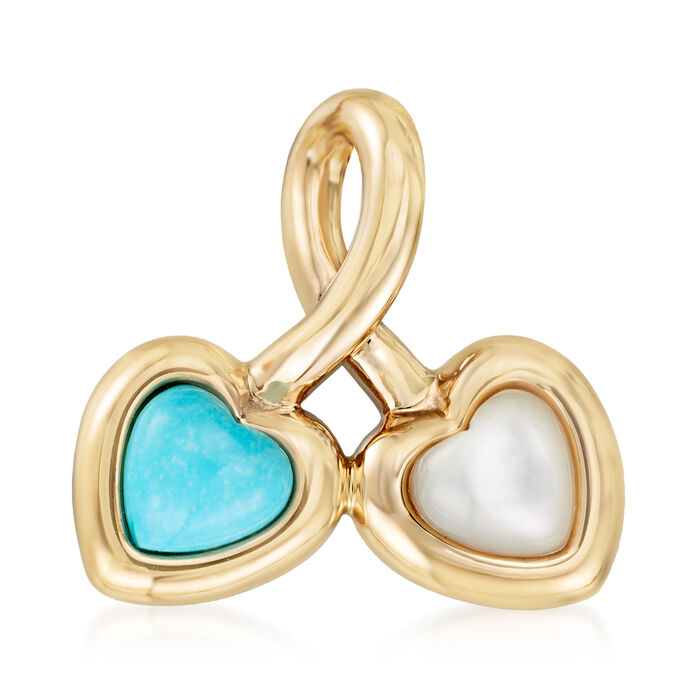 Turquoise and Mother-Of-Pearl Heart Pendant in 14kt Yellow Gold