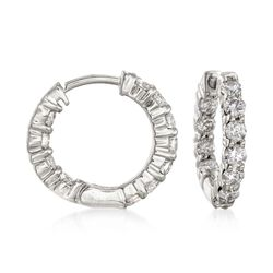 "1.00 ct. t.w. Diamond Inside-Outside Hoop Earrings in 14kt White Gold. 1/2"", , default"
