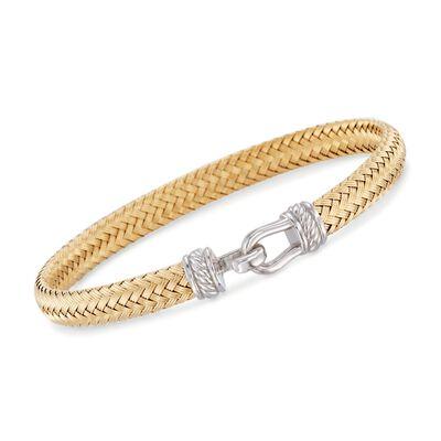 Italian Two-Tone Sterling Silver Horsebit Bracelet, , default