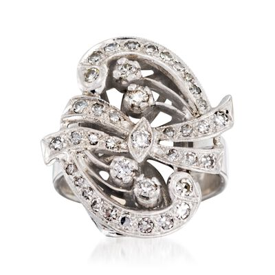 C. 1950 Vintage .60 ct. t.w. Diamond Ribbon Swirl Ring in 14kt White Gold, , default