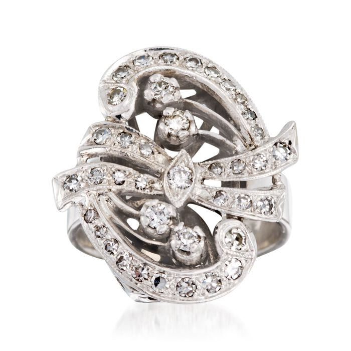 C. 1950 Vintage .60 ct. t.w. Diamond Ribbon Swirl Ring in 14kt White Gold. Size 5, , default
